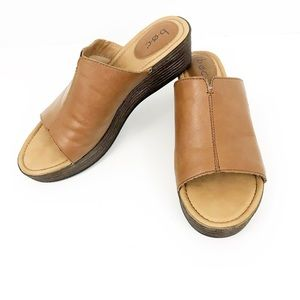 BORN Brown Leather Mule Slip On Stacked Wedges